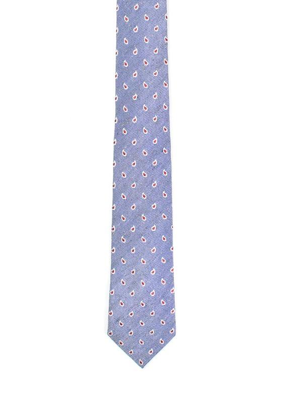 Corbata azul de seda y lino paisley - Azul