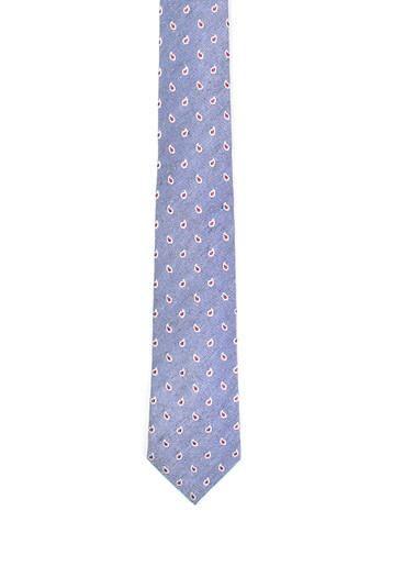 Corbata azul de seda y lino paisley