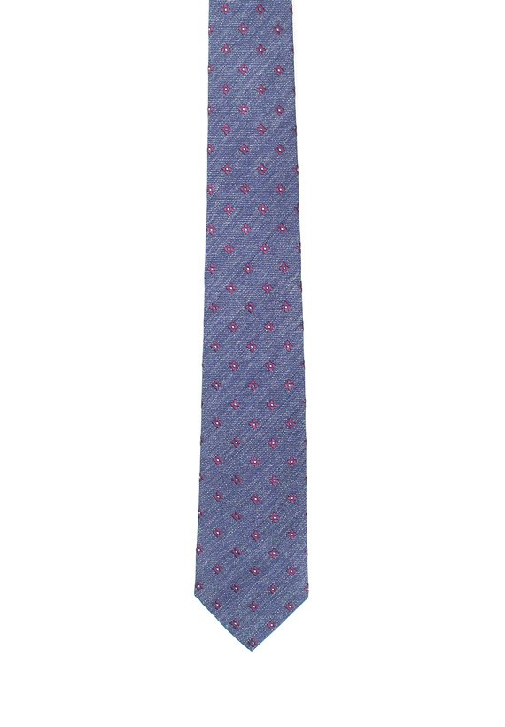 Corbata marino con flores burdeos - Marino