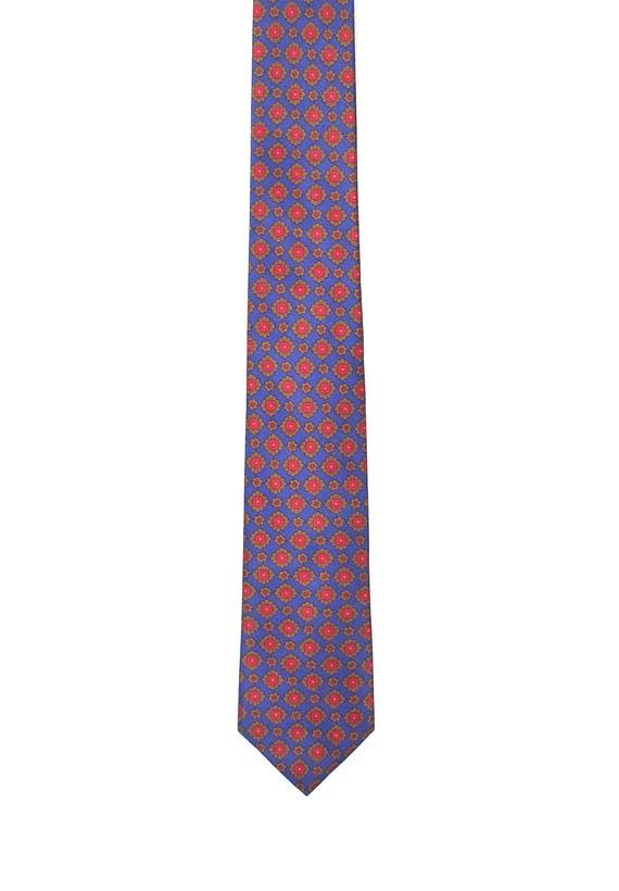 Corbata azul con estampado geométrico de flores