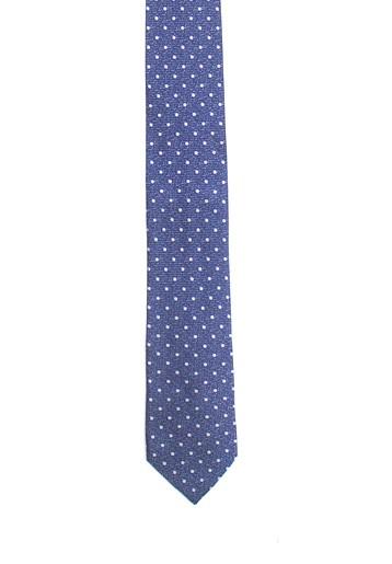 Corbata azul con topos blancos
