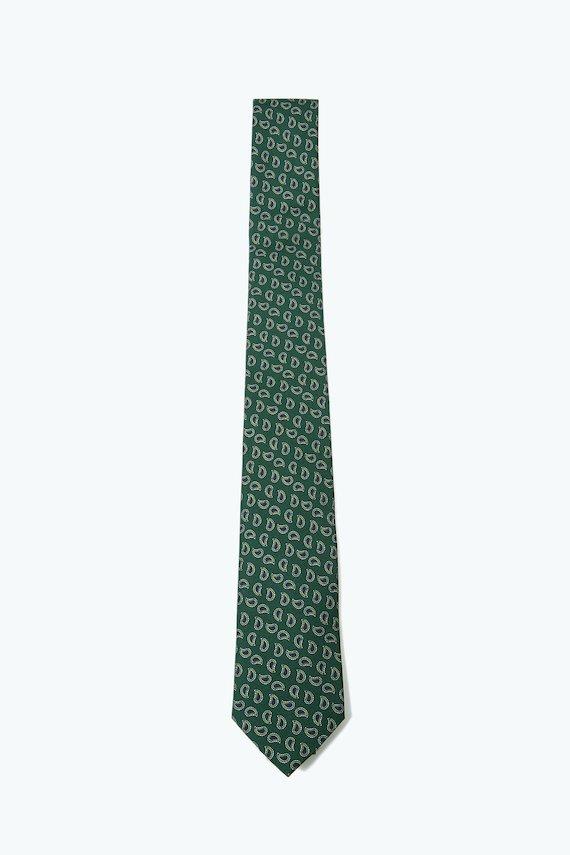 Corbata verde con amebas azules. - Verde