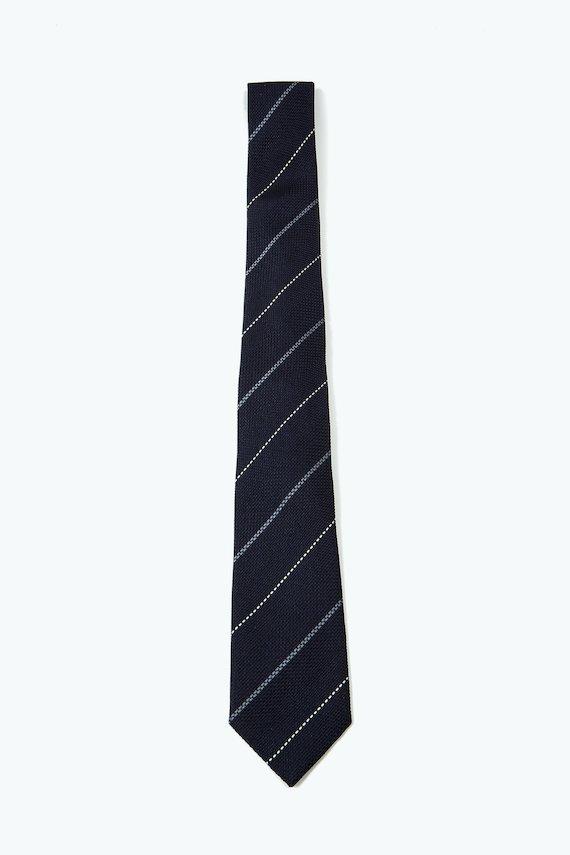 Corbata marino con rayas oblicuas blancas - Marino