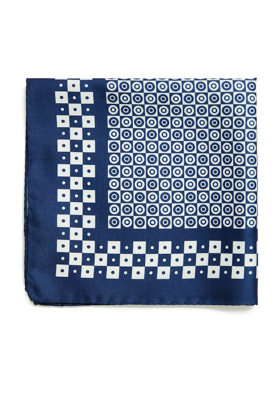 Pañuelo estampado geométrico - Azul