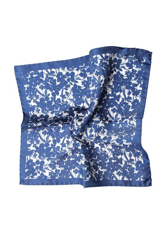 Pañuelo estampado flores - Azul