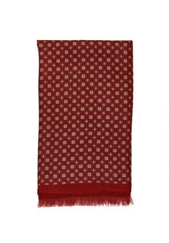 Foulard lana dibujo corbatero - Granate