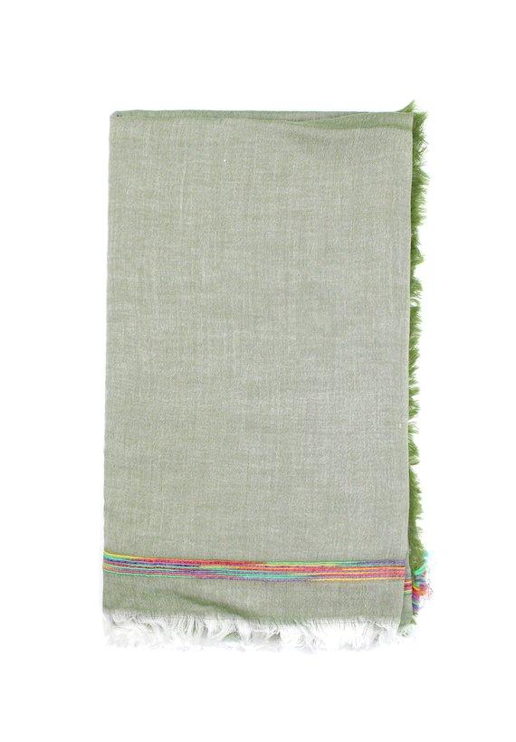Foulard liso con detalle multicolor - Verde