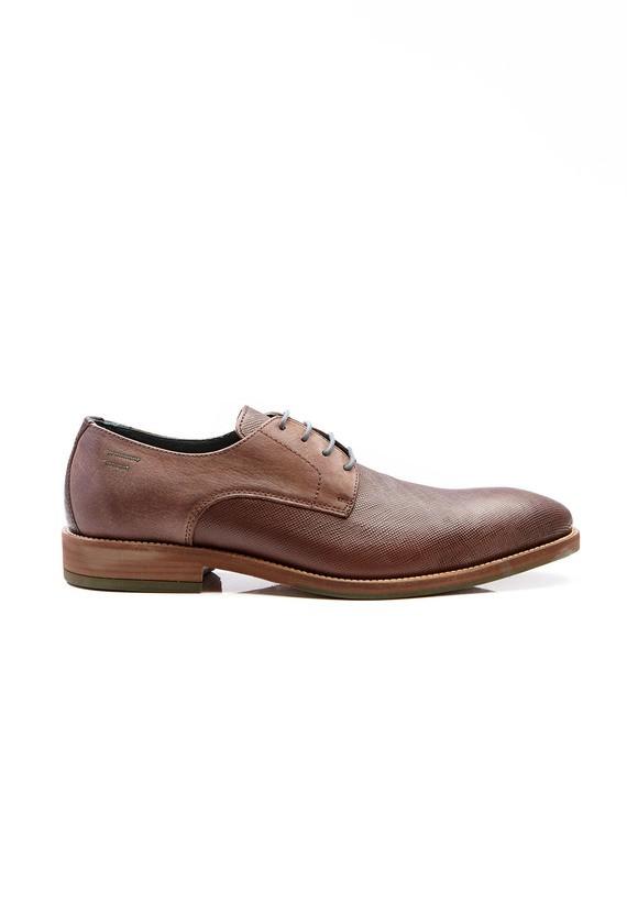 Zapato piel marrón combinado