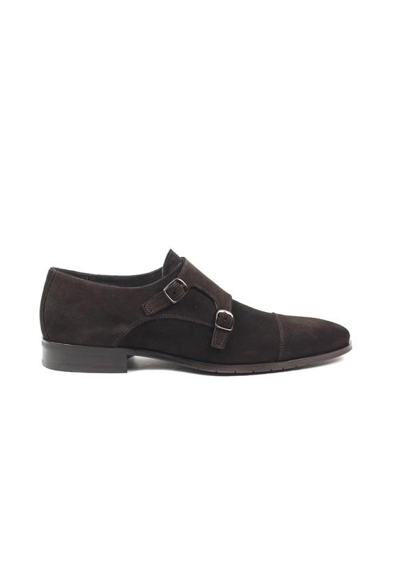 Zapato Monk de serraje - Marron