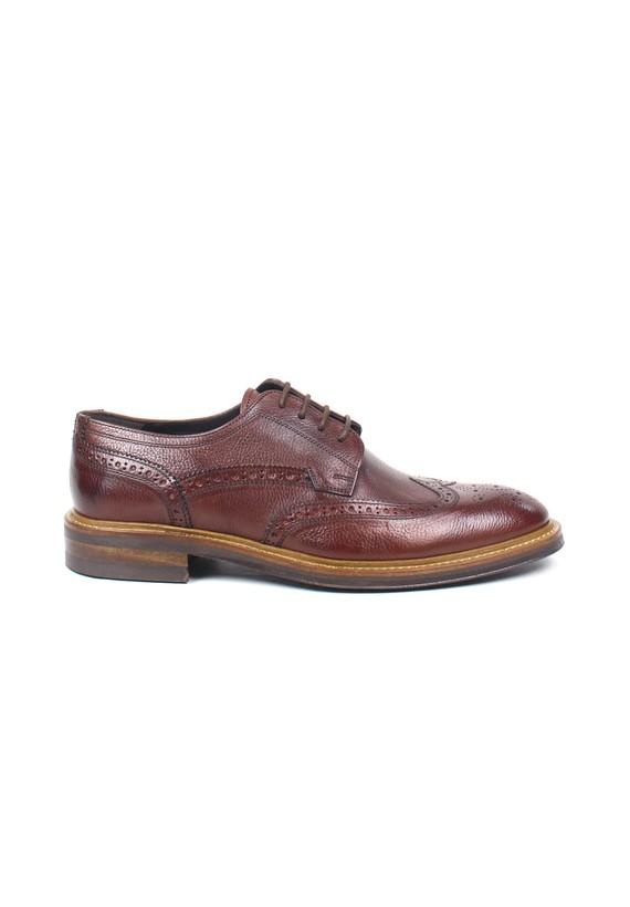 Zapato full-brogue en color marrón - Coñac
