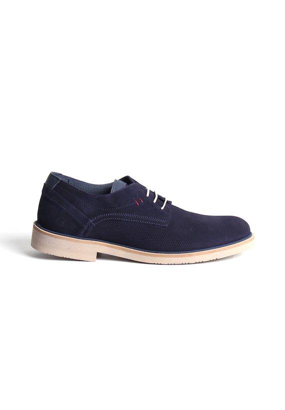 Zapato piel de serraje - Azul