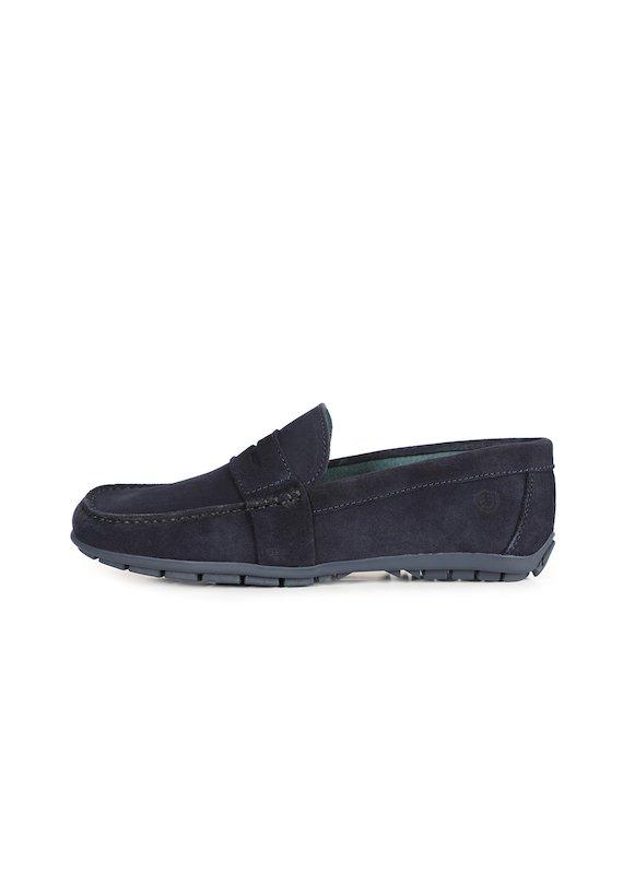 Zapato mocasín en piel de serraje - Marino