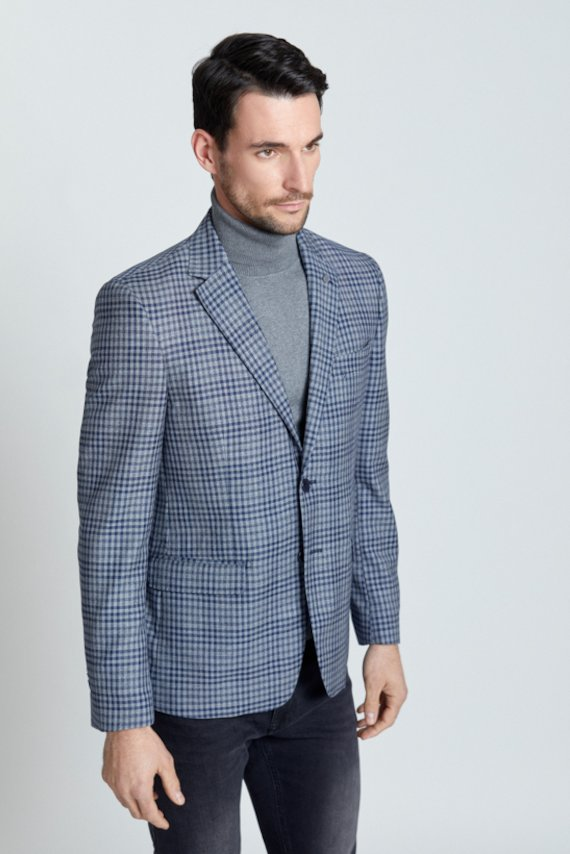 Americana cuadros en lana - Marino