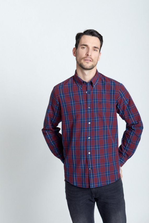Camisa slim fit cuadros granate