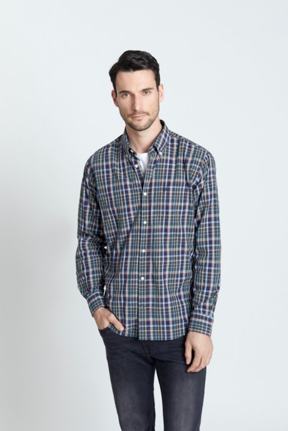 Camisa regular fit cuadros - Verde
