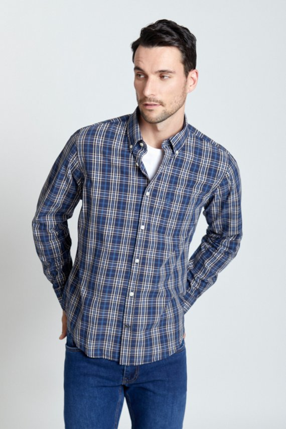 Camisa regular fit cuadros marino