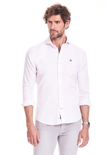 Camisa slim lisa con flame colores
