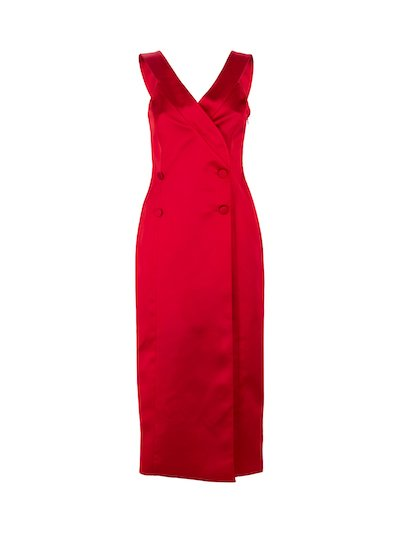 Red midi sheath dress double brested