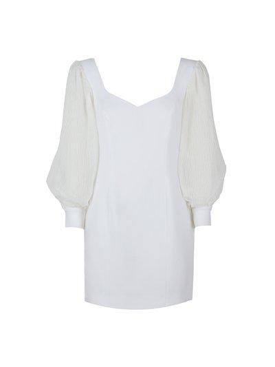 Wide sleeved white sheath dress