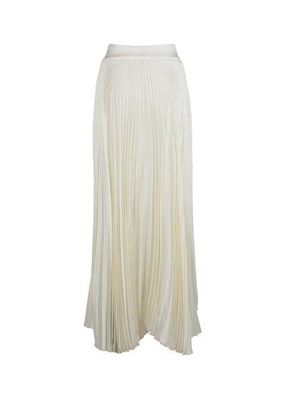 White plissé midi skirt