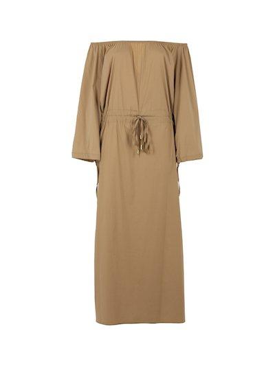 Long dress with bardot neckline