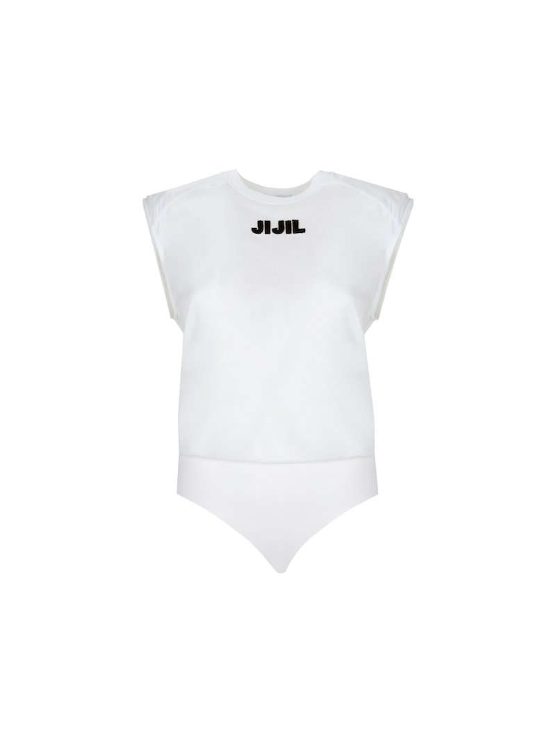 White bodysuit with contrasting logo