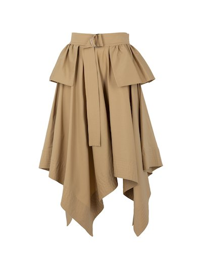 Asymmetric al midi skirt with belt