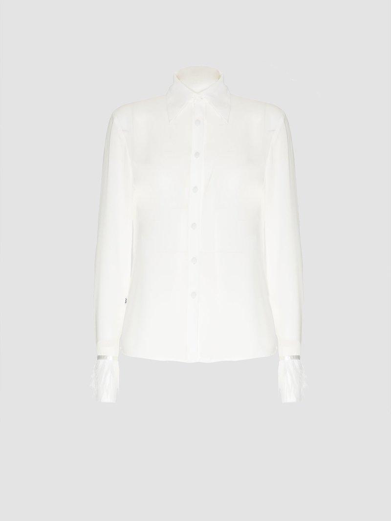 Long-sleeved fringed shirt