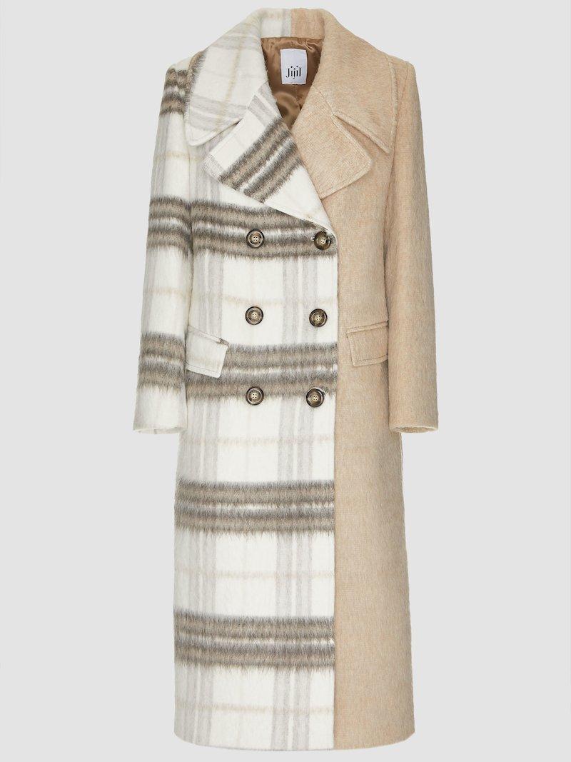 Cream coat check print