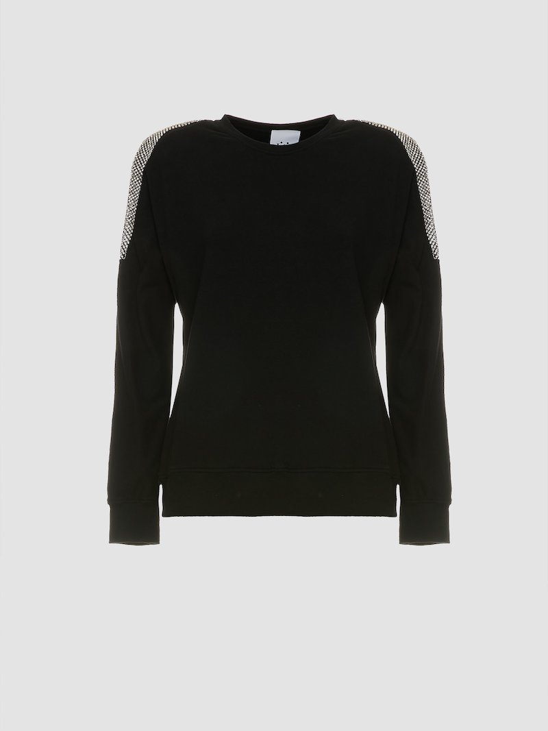 Crew neck sweatshirt with shoulders