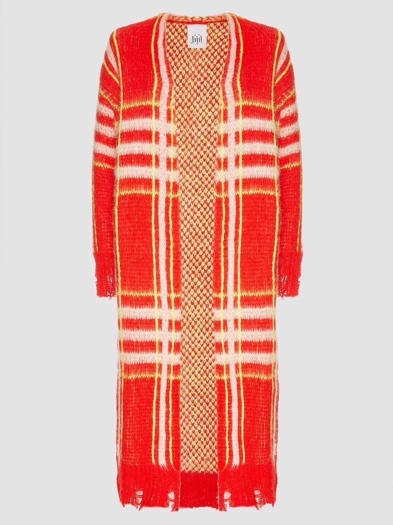 Long jacquard light cardigan