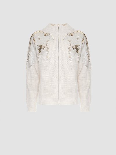 Sweater with gold detail in sequins