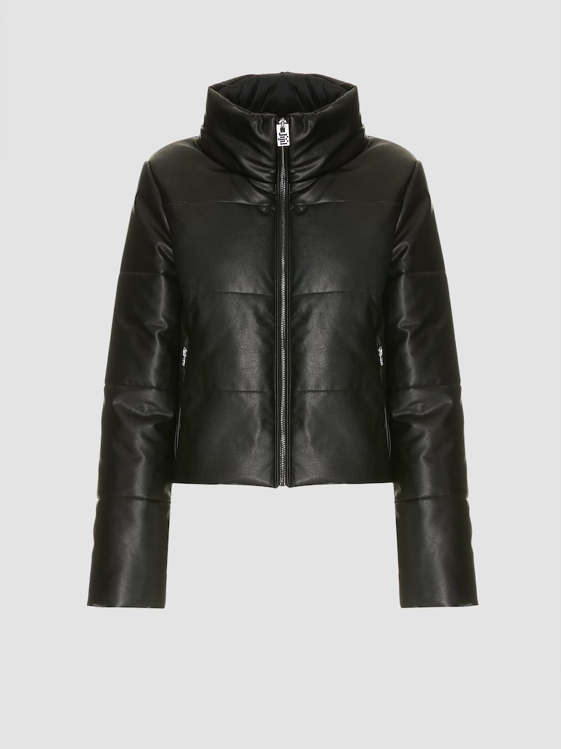 Short padded and quilted black quilted jacket