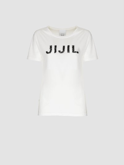 T-shirt bianca con paillettes