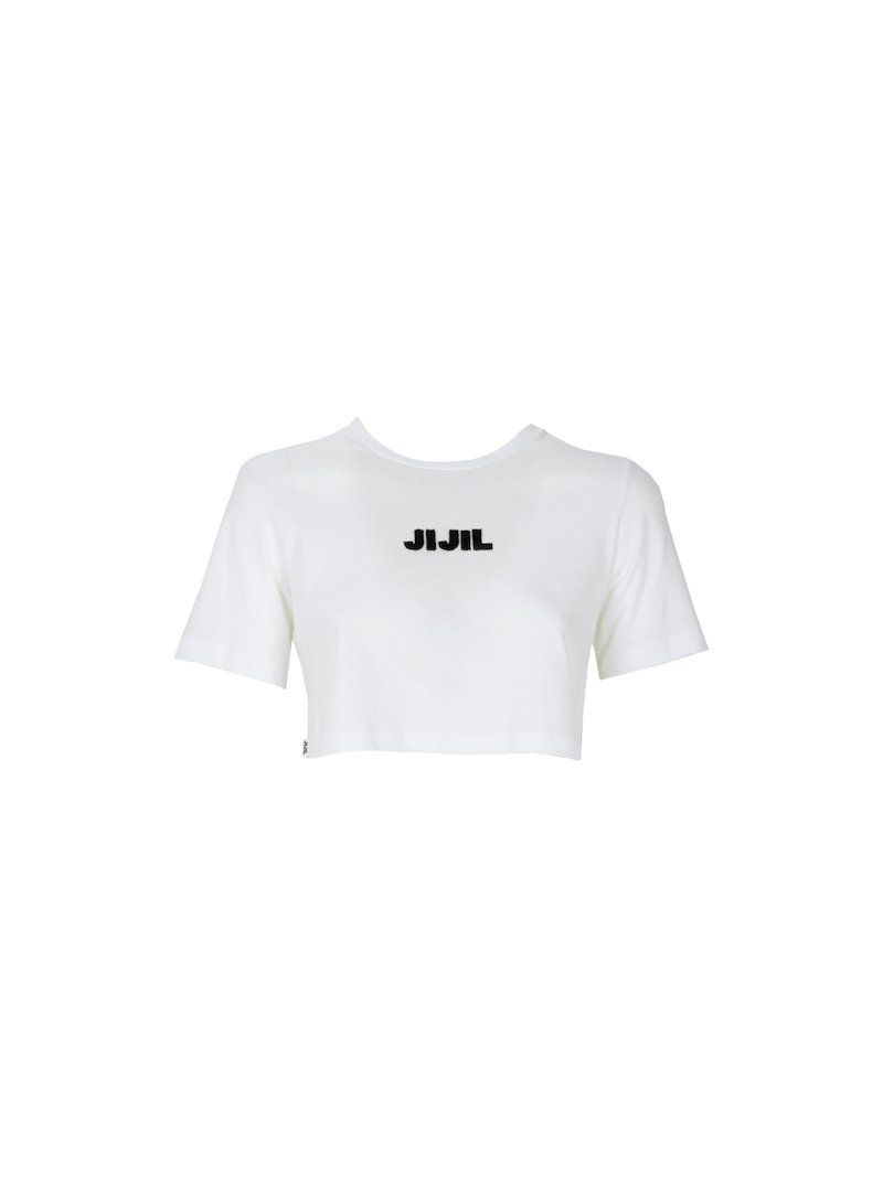 Cropped t-shirt with embossed logo