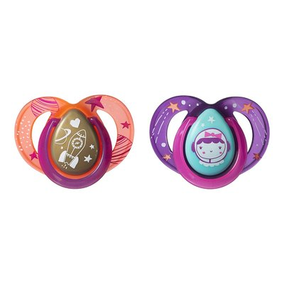 Tommee Tippee 6-18m Closer to Nature Night Time Soothers 2pk - Pink