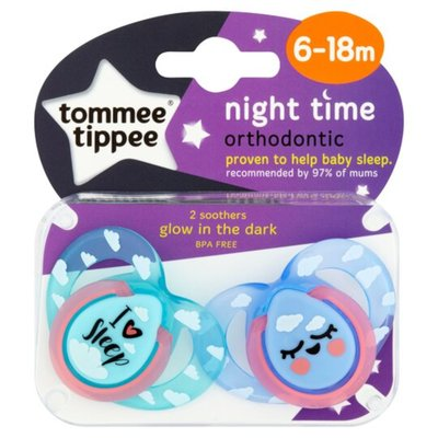 Tommee Tippee 6-18m Closer to Nature Night Time Soothers 2pk