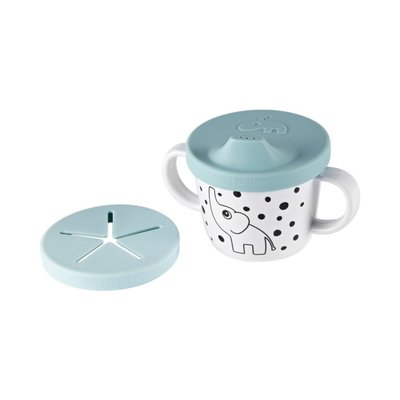 Done by Deer Silicone Spout/Snack Cup - Blue