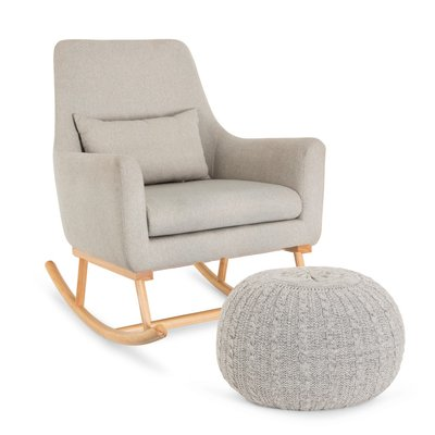 Tutti Bambini Oscar Rocking Chair & Pouffe Set – Pebble Grey - Default