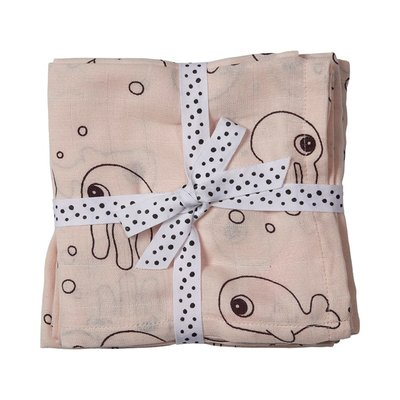 Done By Deer Swaddle 2pk Sea Friends - Powder