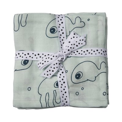 Done By Deer 2pk Swaddle Sea Friends - Blue