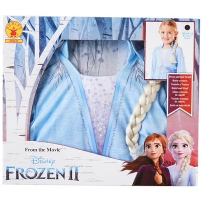 Disney Frozen 2 Elsa Fancy Dress Set with Hair Braid