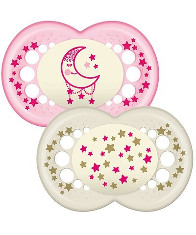 Mam Night 12m+ Soother - pink