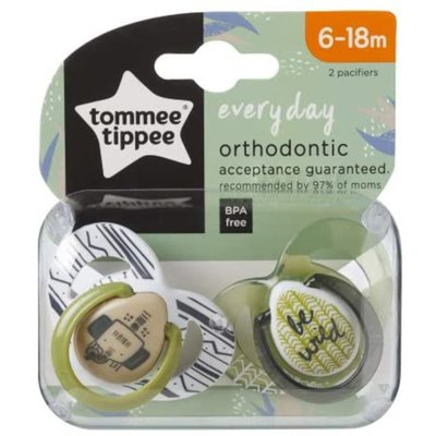 Tommee Tippee 6-18m Closer to Nature Anytime Soothers 2pk - Green