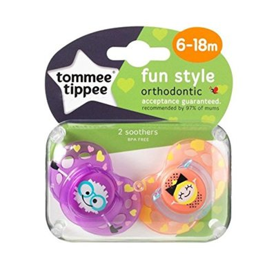 Tommee Tippee 6-18m Closer to Nature Fun Style Soothers - Purple