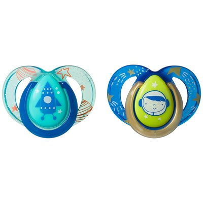 Tommee Tippee 6-18m Closer to Nature Night Time Soothers 2pk - Blue