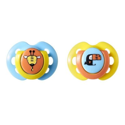 Tommee Tippee 0-6m Closer to Nature Fun Style Soothers 2pk - Yellow - Default