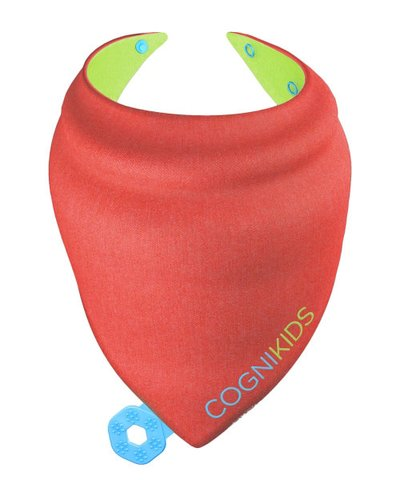 Cognikids Sensory Teething Bib - Apple-Rose