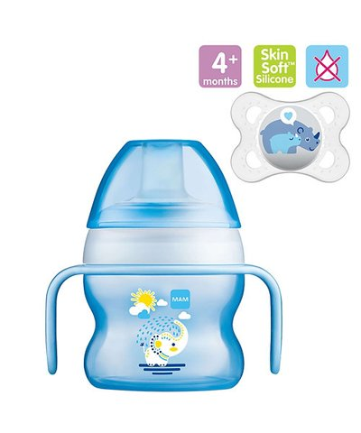 Mam Starter Cup - 150ml & 0m+ Night Soother - Blue