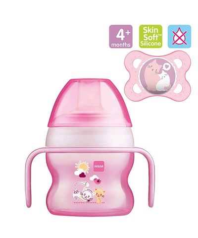 Mam Starter Cup - 150ml & 0m+ Night Soother - Pink